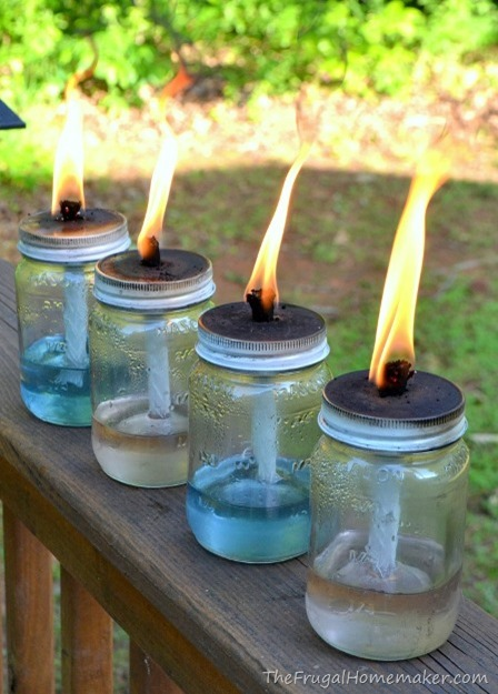 Mason Jar Tiki Torches from The Frugal Homemaker