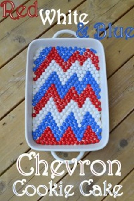 Red White and Blue Chevron Cookie Cake from Cookin Cowgirl