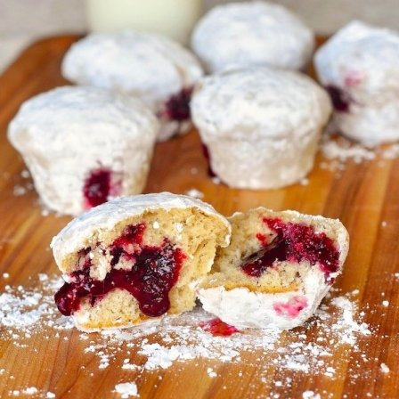 Raspberry Filled Donut Muffins from Rock Recipes