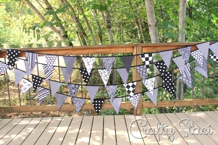 Fabric Bunting with One-Piece Triangles from Crafty Staci
