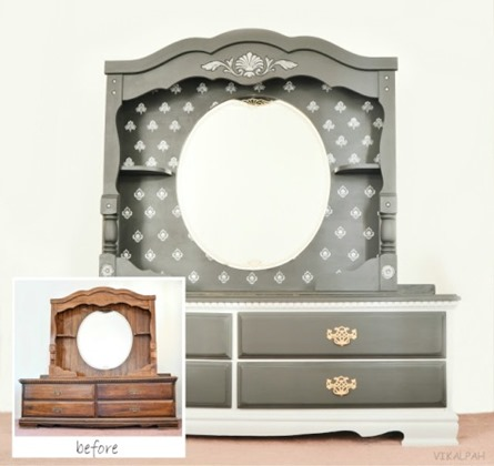Dressing Table Makeover with Chalky Paint from Vikalpah