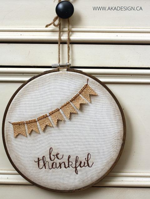 Be Thankful Hoop Art from Aka Design