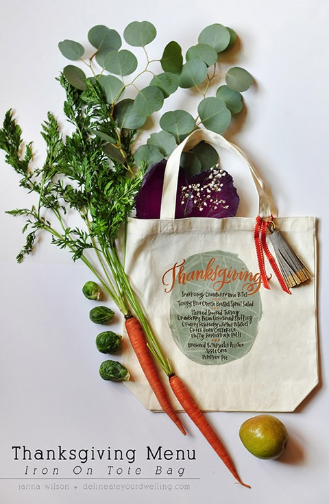 Thanksgiving Menu Iron-on Tote Bag from Delineate Your Dwelling
