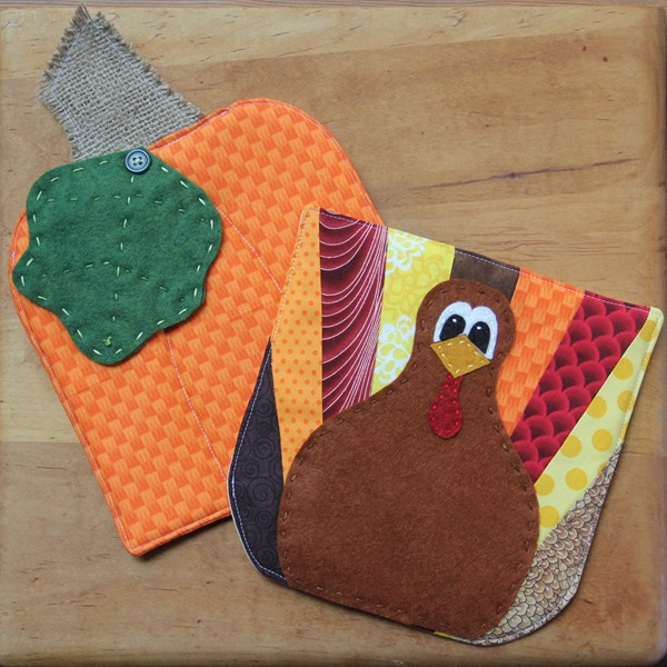 Turkey and Pumpkin Hot Pads from Crafty Staci