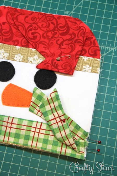 Preparing hat and scarf for assembly