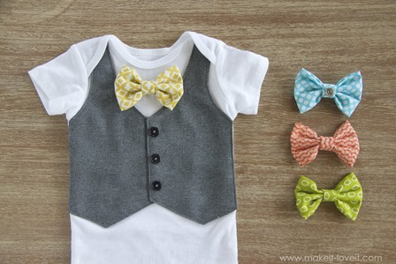 Faux Vest Onesie with Interchangeable Bowties from Make It and Love It