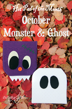 Hot Pad of the Month - October Monster and Ghost from Crafty Staci