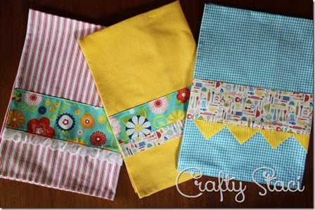 Embellished Kitchen Towels by Crafty Staci
