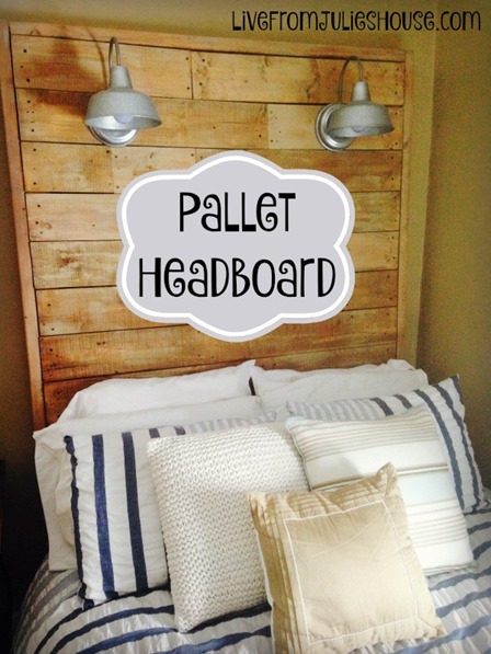 Pallet Headboard with Lights from Live From Julie's House