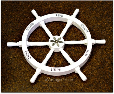 Repurposed Faux Wooden Ship Wheel from A Vintage Green