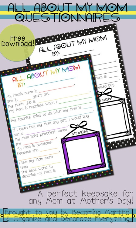 All About Mom Printable from Organize and Decorate Everything