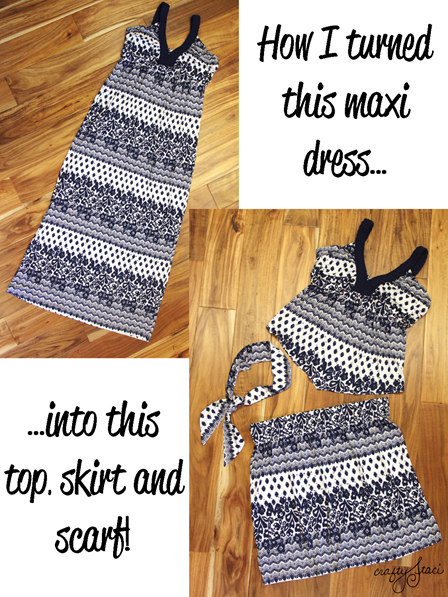 How I turned this maxi dress into this top, skirt and scarf!