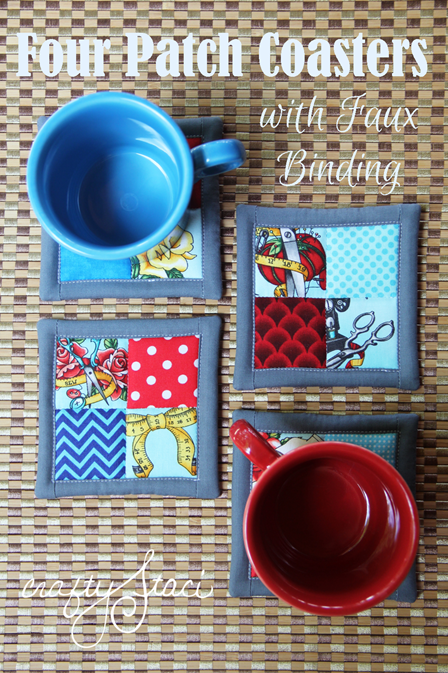 Four Patch Coasters with Faux Binding from Crafty Staci