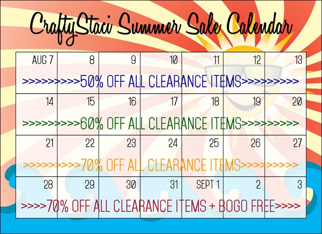 CraftyStaci Summer Sale Calendar