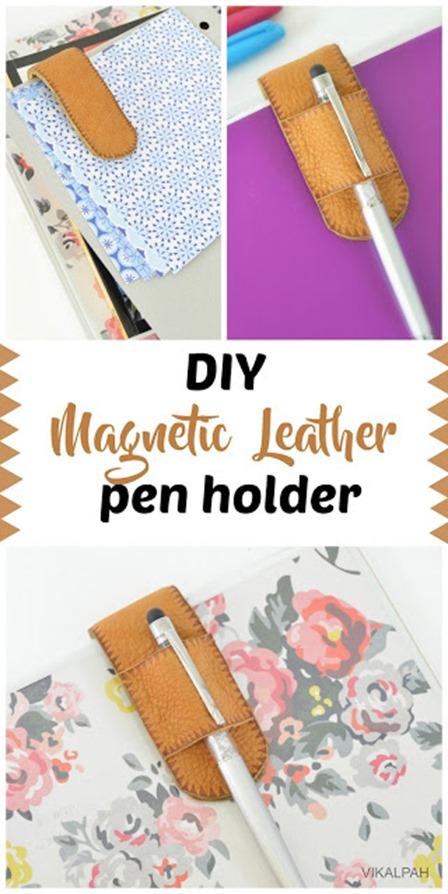 Magnetic Leather Pen Holder from Vikalpah