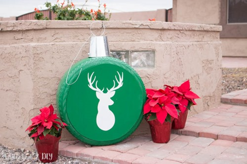 Giant Christmas Ornaments from Old Tires from Addicted 2 DIY