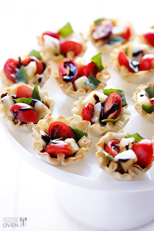 Caprese Phyllo Cups from Gimme Some Oven