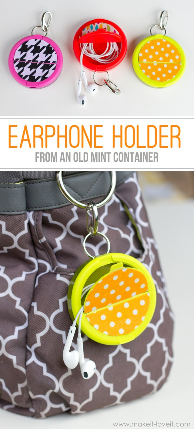 Earphone Holder from a Mint Container from Make It and Love It