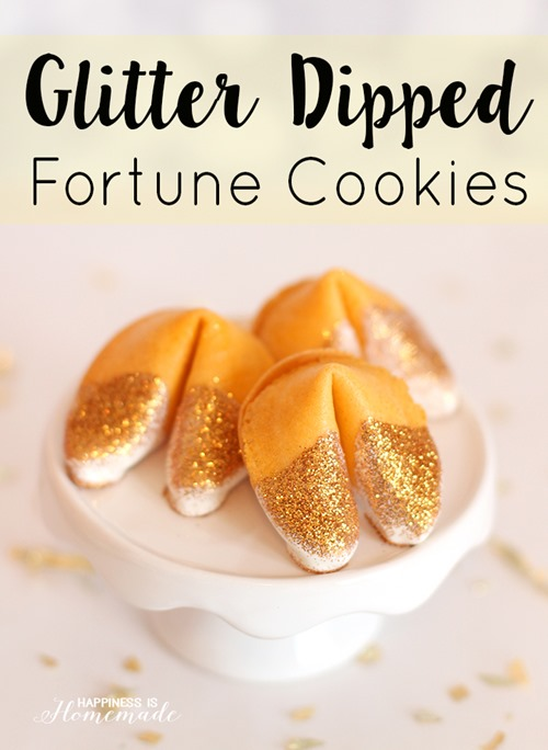 Glitter Dipped Fortune Cookies from Happiness is Homemade