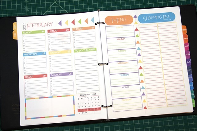 Planner with menu page and shopping list